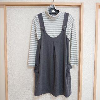 産前産後 授乳服 マタニティウェア(M) 長袖+ワンピース ボーダー