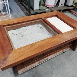 【092101値段交渉可】火鉢テーブル 囲炉裏テーブル 幅119㎝ 奥行74㎝ 高さ36㎝【引取限定】の画像