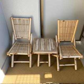 【ネット決済】【お取引中】 竹細工の椅子とテーブルセット
