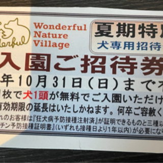 【ネット決済・配送可】わんダフルネイチャーヴィレッジ犬入場無料券