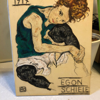エゴン・シーレ『膝を曲げて座る女』模写の画像