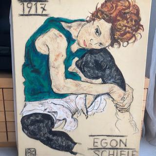 エゴン・シーレ『膝を曲げて座る女』模写 - 家具
