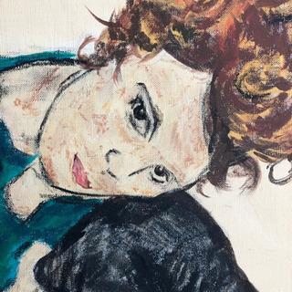 エゴン・シーレ『膝を曲げて座る女』模写 − 神奈川県