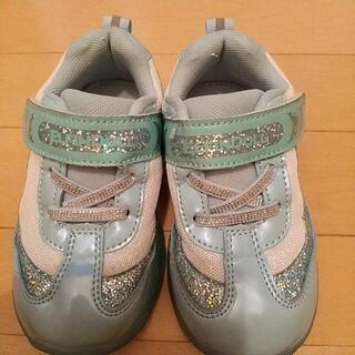 お話し中 緑のピカピカ光る靴 16cm