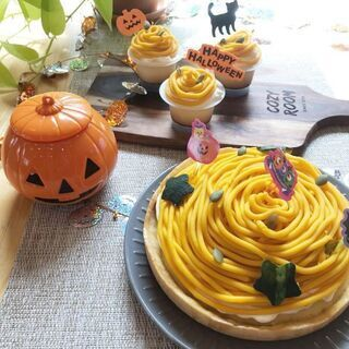英語でハロウィンかぼちゃのモンブランタルト&カフェプレート