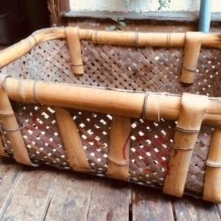 レトロ カゴ 昔の竹の籠 当時物 農作業 天然素材