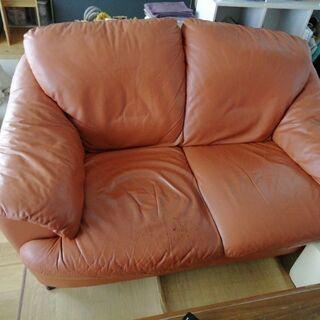 イタリア製本革シートのソファ、差し上げます!