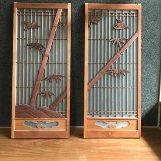 【ネット決済】雀と竹のガラス戸