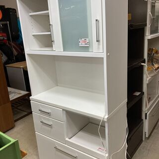【リサイクルショップどりーむ荒田店】9612 食器棚 中型 白 ...