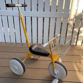 【ネット決済】無印良品 三輪車 黄色 舵取りカゴ付き