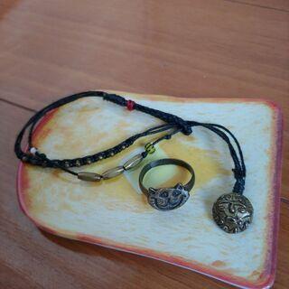 ネコ指輪&ミサンガ風ブレスレット