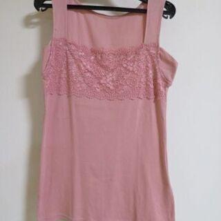 胸元の幅広レースが素敵なタンクトップ 汗取りパッド付 ピンク L...