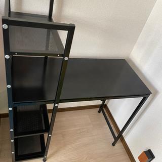 ・コンパクトデスク 90×40.7cm  棚付き ガラス天板