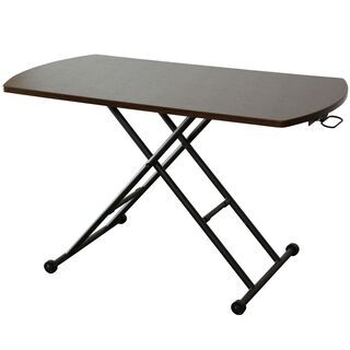 B昇降式テーブル【ミランダ120×60cm/ブラウン色】 センタ...