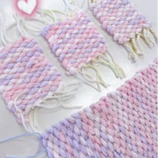 ハンドメイド モコモコ編み物セット(ピンク✖️紫グラデーシ…