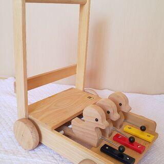 カワイ木製玩具   手押し車あひる