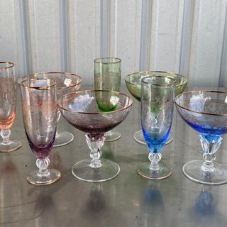 格安で!ガラス製 器 グラス◇8点セット◇シャンパングラス◇カラフル