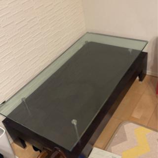 【大塚家具】ガラス天板ローテーブル ウォールナット?