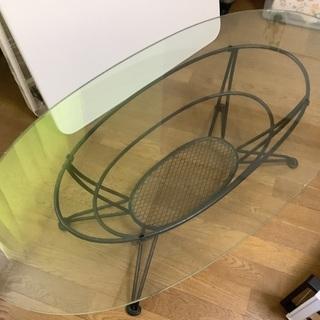 楕円ガラステーブル オシャレ