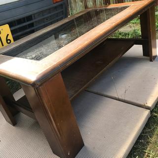 木製ガラステーブル 100×55×40 傷やぐらつきありますが...