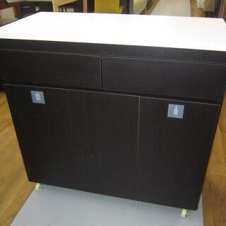 R051 キッチン台、ダストボックス、キャスター付、幅87…