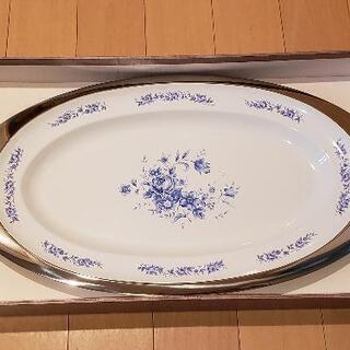 【ネット決済】花の絵柄入りパーティー用楕円形大皿 1枚(小皿5枚...