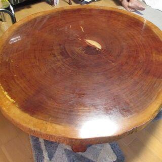 天然木 テーブル 座卓 無垢材 一枚板 円形(楕円形)ローテーブ...