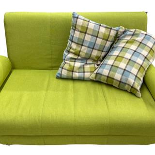 GM687【近隣配達可能】ソファベッド シングルサイズ 緑 クッ...