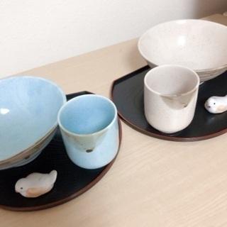 お盆・お茶碗・湯呑み ・箸置き ペアセット