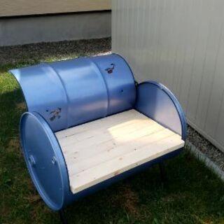 【ネット決済・配送可】ドラム缶 椅子 チェア ベンチ