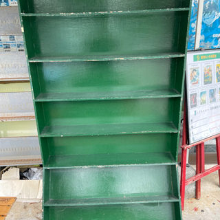 ②【無料処分】 緑の棚 本棚 物置 DVD
