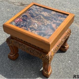 家具 サイドテーブル ガラス 木製 木彫り 彫刻 応接セット ア...