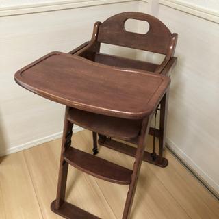 【ネット決済・配送可】【KATOJI】木製折り畳みハイチェア