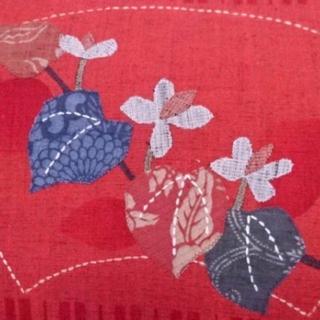 ☆美品☆九寸名古屋帯 細織 刺繍パッチワークお太鼓柄 扇面に花文