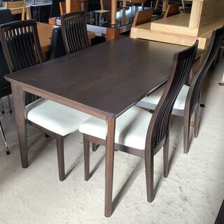 ダイニングテーブル 5点セット 木目DBR 引き出し付きテーブル...