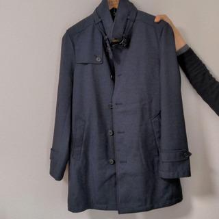【ステンカラーコート】メンズ Sサイズ 紺色 ライナー付き