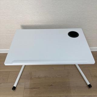 【使用期間1ヶ月】ドリンクホルダー付き 昇降テーブル (色…