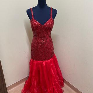 【ネット決済】赤スパンコールロングドレス