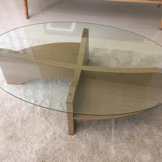【ネット決済】ガラス天板のローテーブル おしゃれなリビングに!