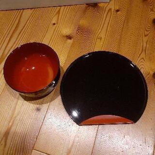 【無料】朱色丼椀 お盆 箸 セット(桂由美)