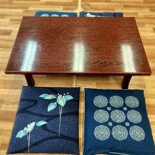 木目調の朱色座卓(ローテーブル)④