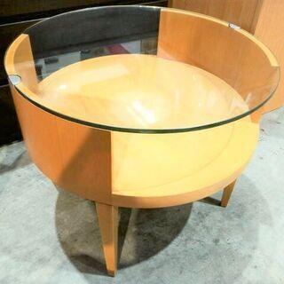 旭川 ガラステーブル 木製 丸形 円形 2段 インテリア 家具