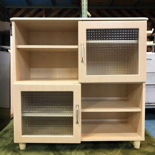 ☆木製シェルフ 88cm幅 ガラス扉 オープン 棚板調整可能