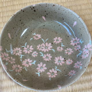 盛り鉢 中鉢 和柄 コスモス 薄茶