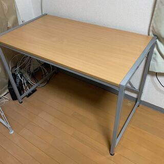 テーブル パソコンデスク 机 木製 スチールユニットシェルフ 分...