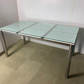 (211007) ガラステーブル ダイニングテーブル W1500...