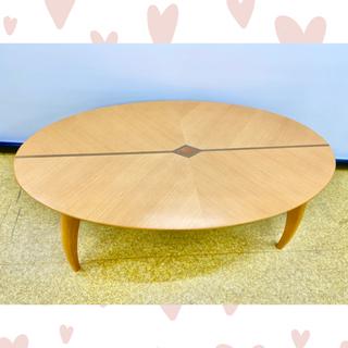 【おしゃれ】楕円形テーブル 棚板付き 天板デザイン