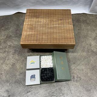本格的な囲碁セット 脚付き碁盤 碁石 本蛤白 本那智黒 3…