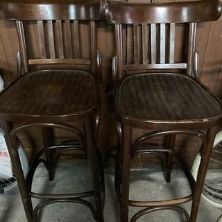 ラウンジバーの椅子3脚まとめての場合お値引き致します 木製ダーク...