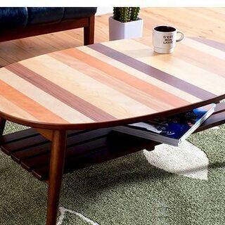 ■おしゃれな寄木天板の折りたたみ式ローテーブル(オーバルタイプ)...